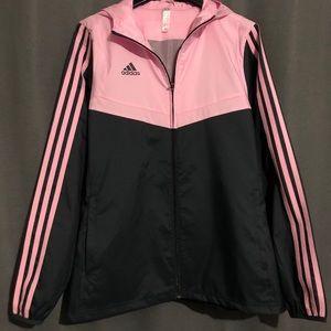 Adidas pink windbreaker